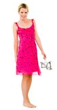 Young blonde woman in pink dress Royalty Free Stock Image