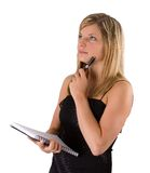 Young blonde woman portrait black dress and notebook Royalty Free Stock Image