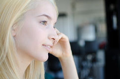 Young blonde Woman portrait thoughtful Royalty Free Stock Photos