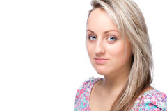 Young blonde woman portrait on white background royalty free stock photos