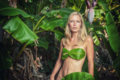 Young blonde woman posing with banana leaves Stock Image