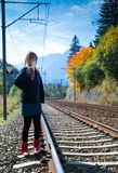 Young blonde woman on railroad Royalty Free Stock Photos