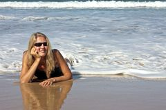 Young blonde woman relaxing Stock Image