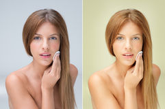 Young blonde woman removing makeup Stock Image