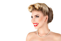 Young blonde woman with retro make-up Royalty Free Stock Image