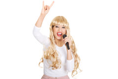 Young blonde woman singer. Stock Photography
