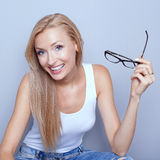 Young blonde woman smiling. Stock Photo