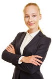 Young blonde woman in a suit Royalty Free Stock Image