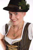 Young blonde woman in traditional bavarian costume Royalty Free Stock Image