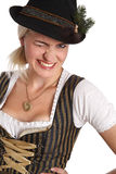 Young blonde woman in traditional bavarian costume Royalty Free Stock Photos