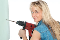 Young blonde woman works Stock Photo