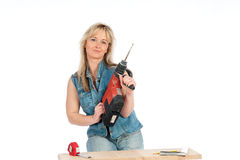 Young blonde woman works Stock Photography