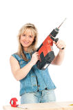 Young blonde woman works Stock Photos