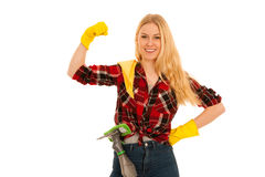 Young blonde woman with yellow rubber gloves cleaning isolated o Stock Images