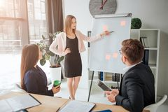 Young blonde woman making presenttion in meeting room. Her colleagues listen to her. They sit at table and look at stock photos
