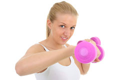 Young blondie woman with dumbbell Royalty Free Stock Photography