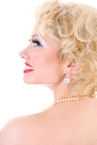 Young blondie woman. Marilyn Monroe imitation Stock Photos
