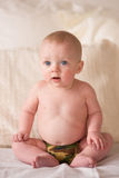 Young Blue Eyed Infant Boy Sitting Up Camo Underwear Stock Photos