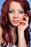 Young blue eyed woman with red hair Stock Photos