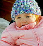 Young Blue Eyes. A little girl with extraordinary eyes dressed for winter Stock Photo