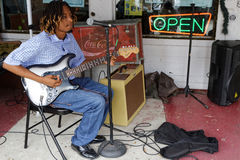 Young bluesman Omar Gordon in CLarksdale Stock Image
