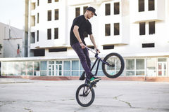 Young BMX bicycle rider Royalty Free Stock Images