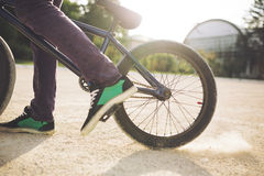 Young BMX bicycle rider Royalty Free Stock Image