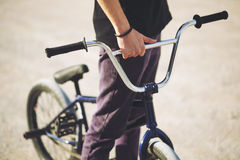 Young BMX bicycle rider Royalty Free Stock Photos