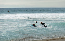 Young board surfers take to the surf at Brooks Street, Laguna Beach, California. royalty free stock images