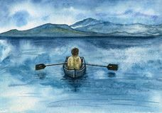 A young boatman sails on a rowing boat along the blue sea. Royalty Free Stock Photography