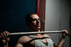 Young body builder doing heavy weight exercise for back Royalty Free Stock Photo