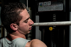 Young body builder doing heavy weight exercise for back Royalty Free Stock Images