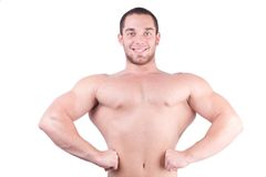 Young bodybuilder. Young bodybulider posing in front of white background Stock Photos