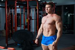 Young bodybuilder demonstrating strong muscular body at gym Royalty Free Stock Images