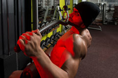 Young Bodybuilder Doing Heavy Weight Exercise For Back Royalty Free Stock Images