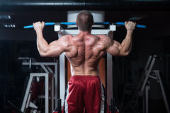 Young Bodybuilder Doing Heavy Weight Exercise For Back Royalty Free Stock Image