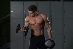 Young Bodybuilder Doing Heavy Weight Exercise For Biceps Stock Images