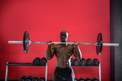 Young Bodybuilder doing weightlifting Royalty Free Stock Images