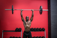 Young Bodybuilder doing weightlifting. In the crossfit gym Royalty Free Stock Photos