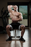 Young Bodybuilder Exercise Triceps In The Gym Royalty Free Stock Image