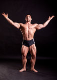 Young bodybuilder posing. In studio Royalty Free Stock Photos