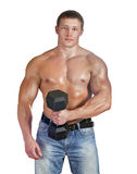 Young bodybuilder training with dumbbell Stock Photography