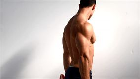 Young bodybuilder training traps and shoulders with dumbbells, seen from the back. Against light background stock video footage