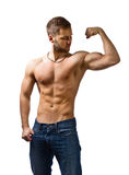 Young bodybuilder on white background . Royalty Free Stock Photography