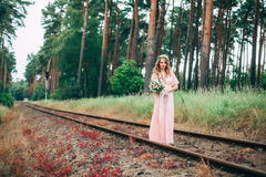 Young Boho Styled On Railway Stock Images