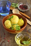 Young boiled potatoes with cilantro Royalty Free Stock Image