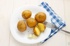 Young boiled potatoes with dill Stock Photography