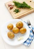 Young boiled potatoes with dill Royalty Free Stock Image