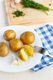 Young boiled potatoes with dill Stock Photos