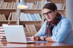 The young book writer writing in library Stock Image